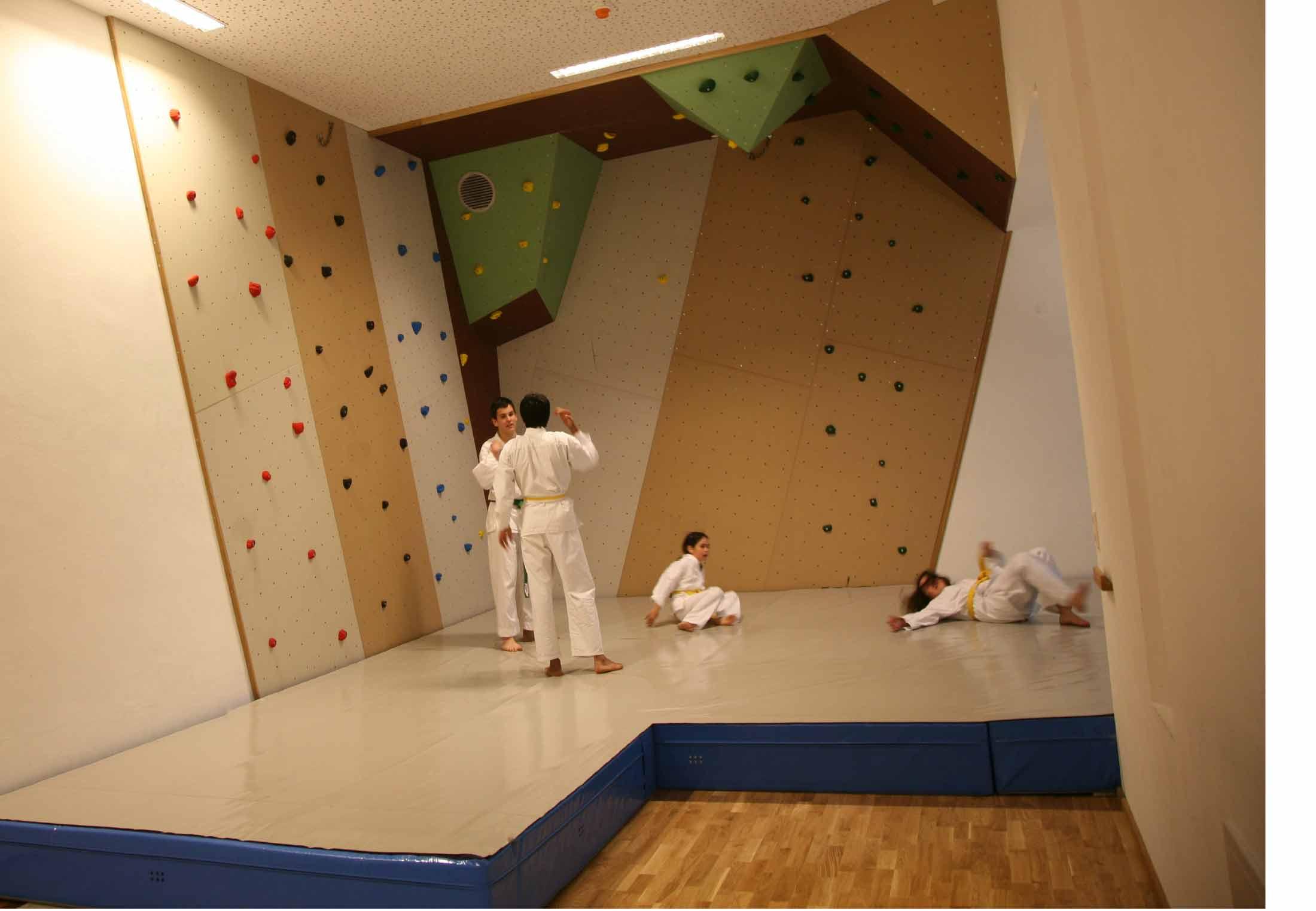 Indoor Boulderbereich mit Spezial Boulder Matten für Absturzsicherung bis 5 m